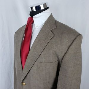 Stafford Mens 46R Blazer Gold Button Tweed Tan